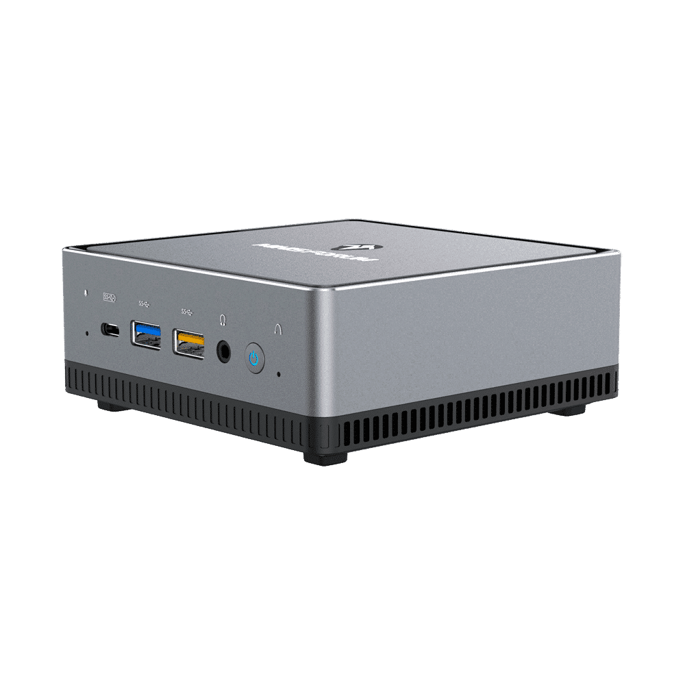MINISFORUM DMAF5 AMD Mini PC with Ryzen 5 - Shown from right side at angle with Mic In, 2x USB Type-A Ports, 1x USB Type-C Port, 3.5mm Jack and Power Button