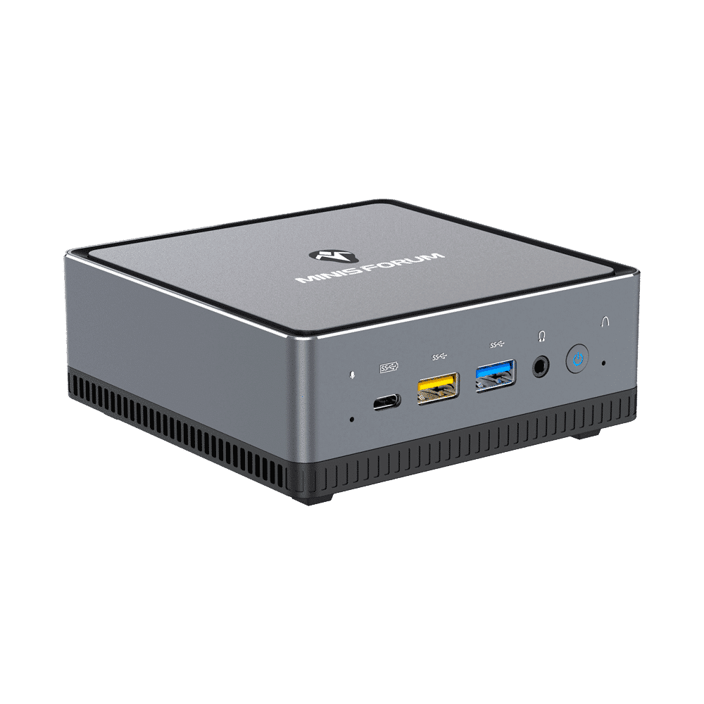 MINISFORUM DMAF5 AMD Mini PC with Ryzen 5 - Shown from left side at angle with Mic In, 2x USB Type-A Ports, 1x USB Type-C Port, 3.5mm Jack and Power Button