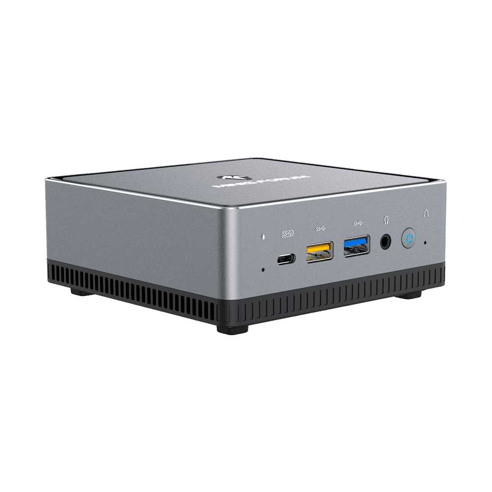 MINISFORUM DMAF5 AMD Mini PC with Ryzen 5 - Shown from left side with Mic In, 2x USB Type-A Ports, 1x USB Type-C Port, 3.5mm Jack and Power Button