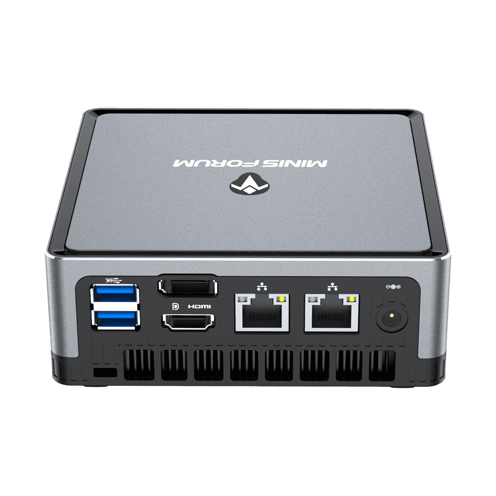 MINISFORUM DMAF5 AMD Mini PC with Ryzen 5 - Shown from the back at angle with Power Port, 2x RJ45 Ethernet Ports, 1x HDMI, 1x DisplayPort and 2x USB Type-A Ports
