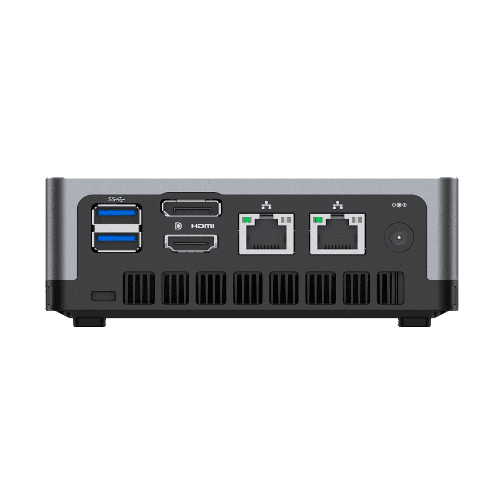MINISFORUM DMAF5 AMD Mini PC with Ryzen 5 - Shown from the back straight at angle with Power Port, 2x RJ45 Ethernet Ports, 1x HDMI, 1x DisplayPort and 2x USB Type-A Ports