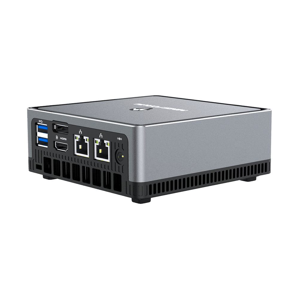 MINISFORUM DMAF5 AMD Mini PC with Ryzen 5 - Shown from the back at right side angle with Power Port, 2x RJ45 Ethernet Ports, 1x HDMI, 1x DisplayPort and 2x USB Type-A Ports