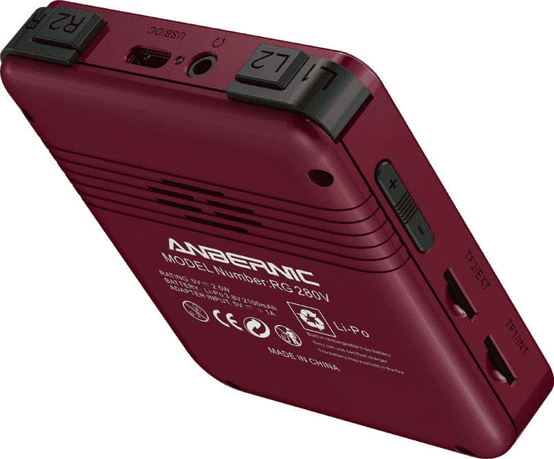 ANBERNIC RG280V Gold Retro Gaming Handheld - Shown from the back tilted with shoulder buttons, USB Type-C Port, 3.5mm Headphone Jack, Volume Buttons and 2x MicroSD Card Slots