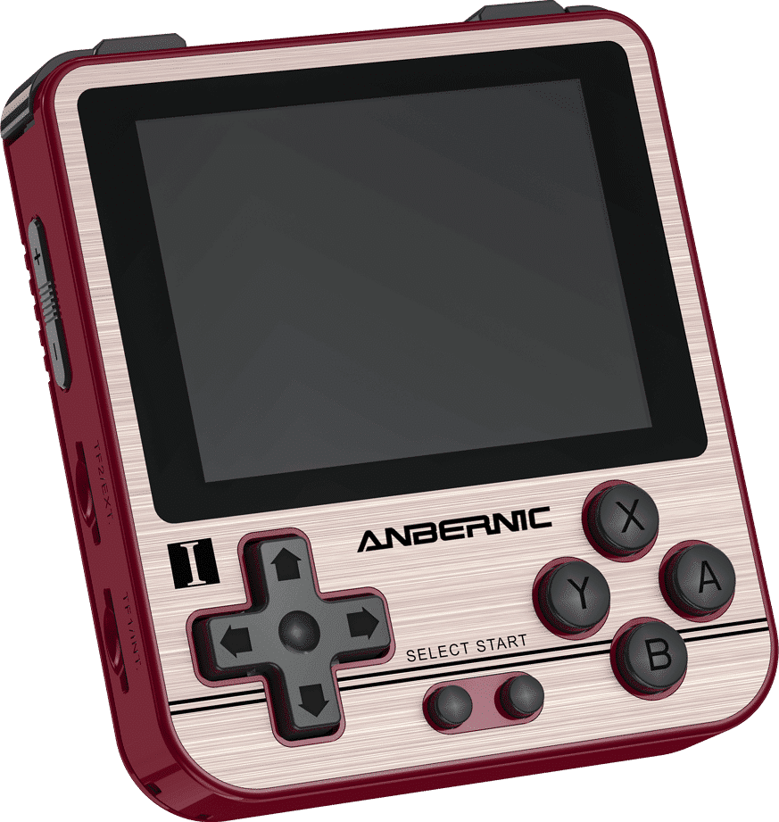 ANBERNIC RG280V Gold Retro Gaming Handheld - Showing front Buttons and Display at angle along with Volume Rockers and two MicroSD Card Slots