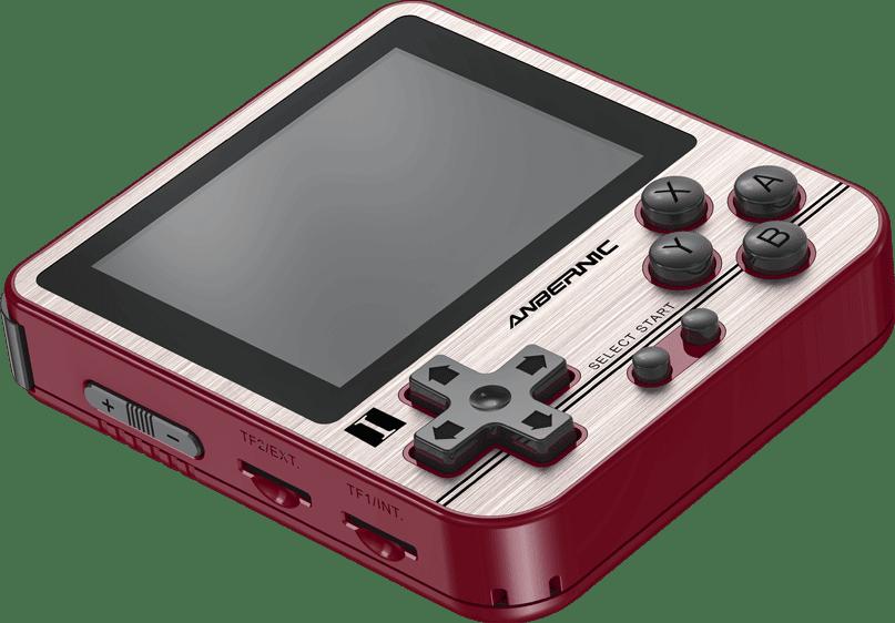 ANBERNIC RG280V Gold Retro Gaming Handheld - Showing flat at angle Display at angle along with Volume Rockers and two MicroSD Card Slots