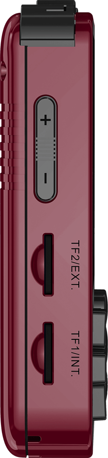 ANBERNIC RG280V Gold Retro Gaming Handheld - Showing Volume Buttons and the two MicroSD Card Slots