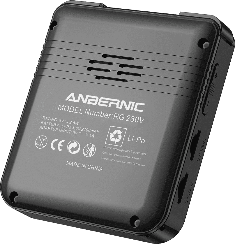 ANBERNIC RG280V Silver Retro Gaming Handheld - Shown from the back tilted with shoulder buttons, USB Type-C Port, 3.5mm Headphone Jack, Volume Buttons and 2x MicroSD Card Slots
