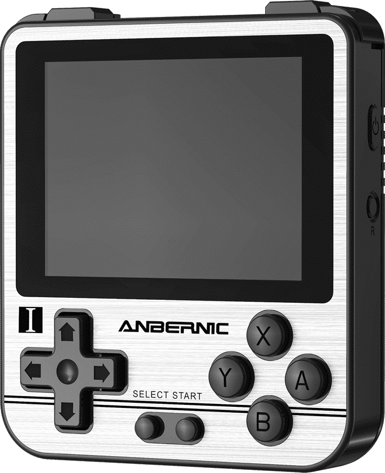 ANBERNIC RG280V Silver Retro Gaming Handheld - Showing front Buttons and Display at angle along with Power and Reset button