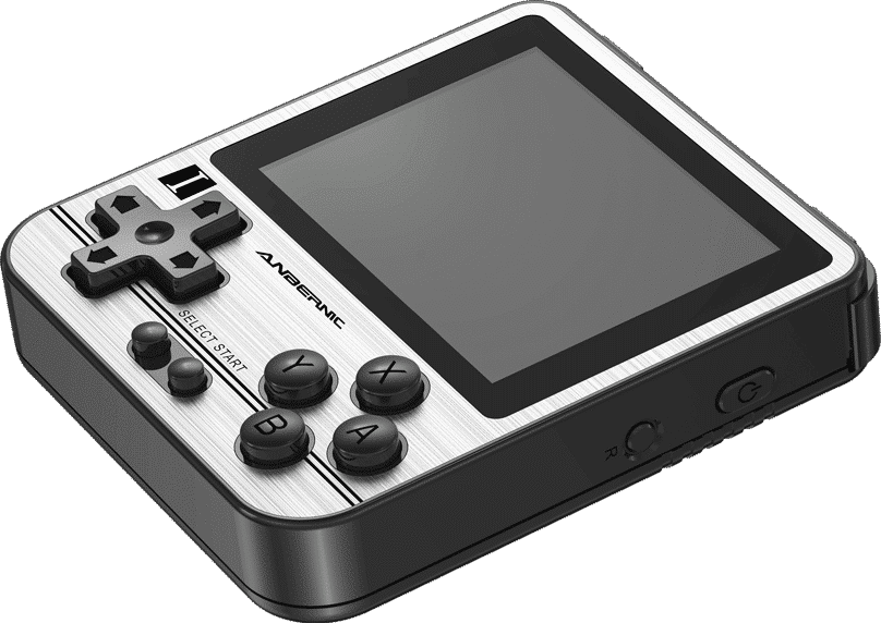ANBERNIC RG280V Silver Retro Gaming Handheld - Showing flat at angle Display at angle along with Power and Reset button