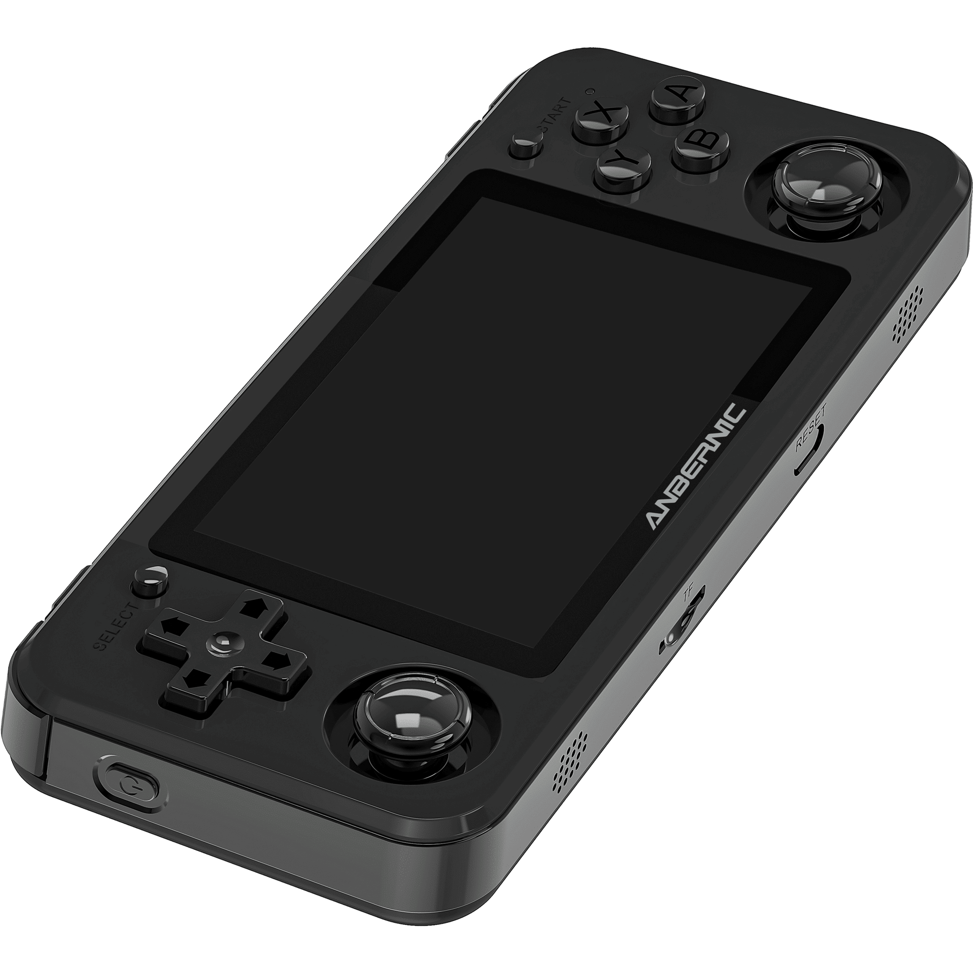 RG351P Black Retro Gaming Emulator - Showing Front laying down