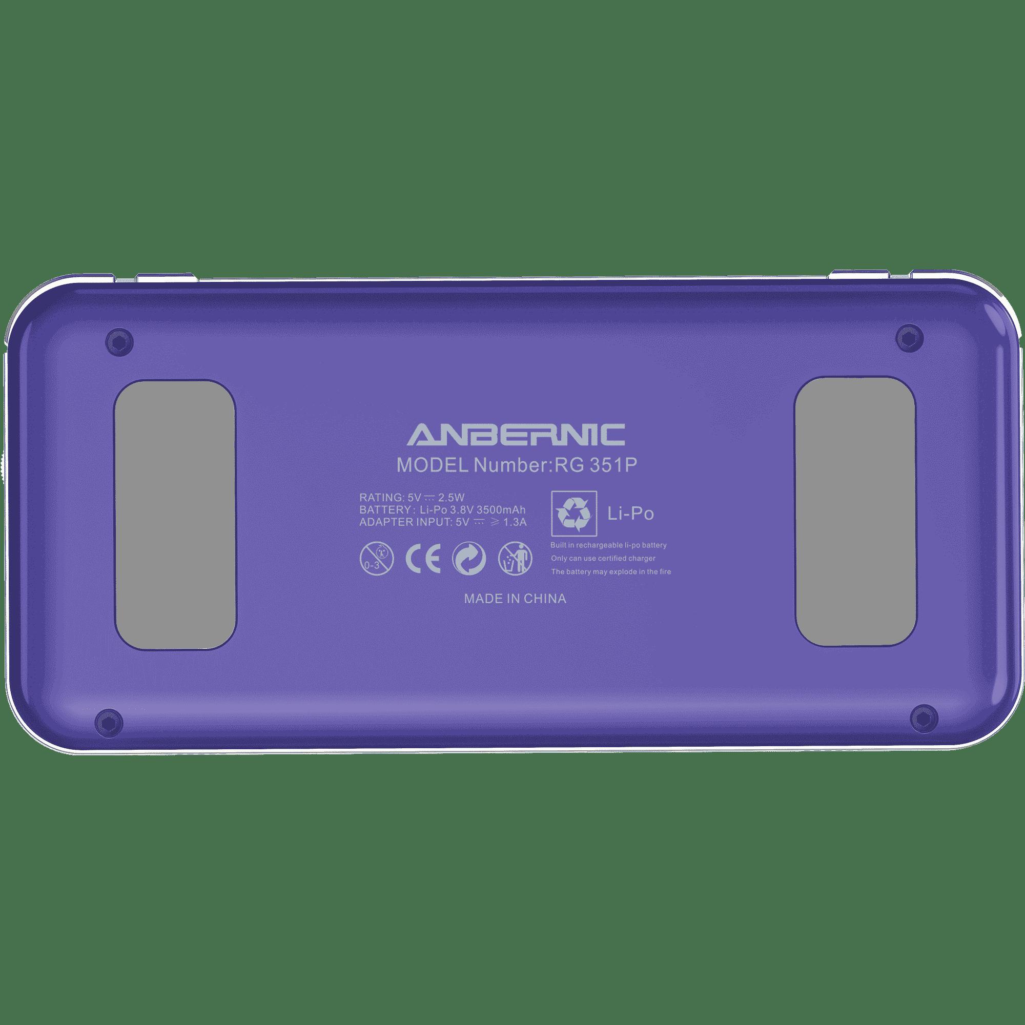 RG351P Purple Retro Gaming Emulator - Showing Back