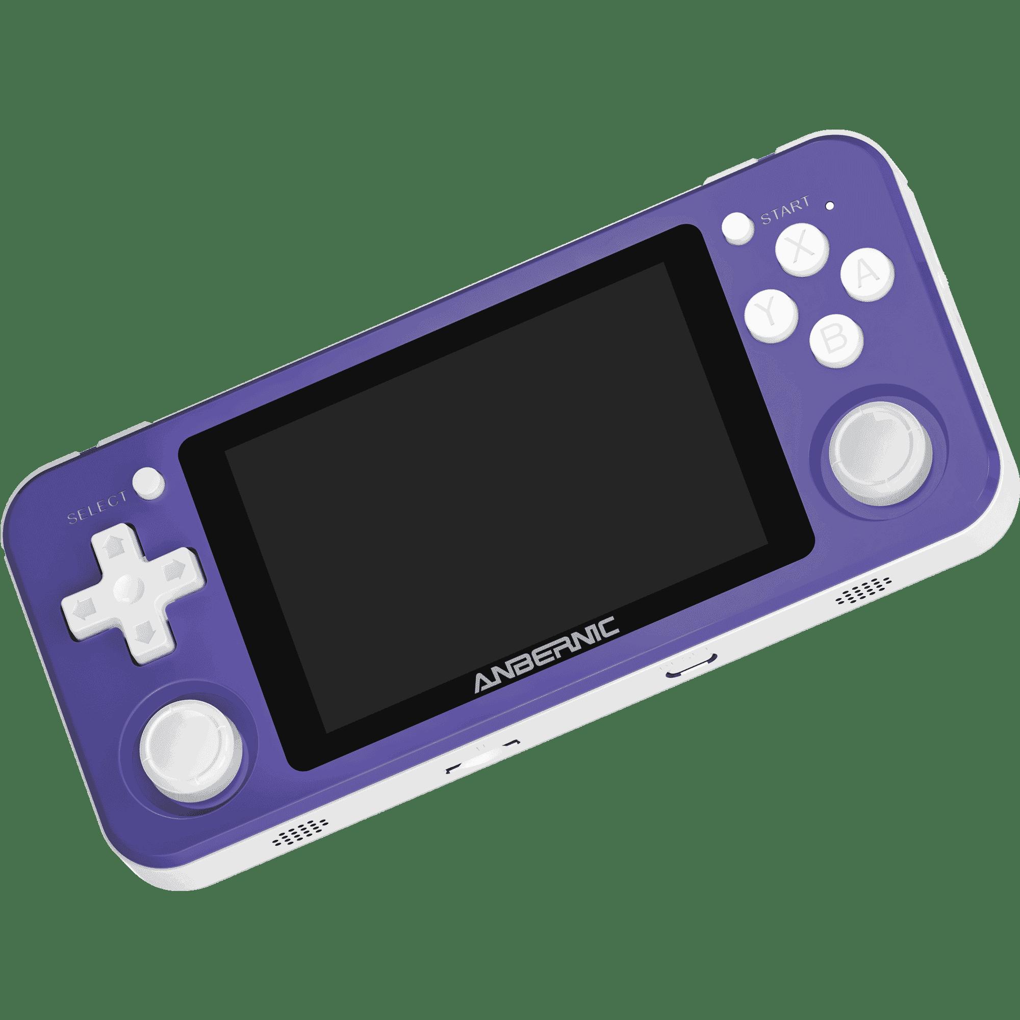 RG351P Purple Retro Gaming Emulator - Showing Front at angle