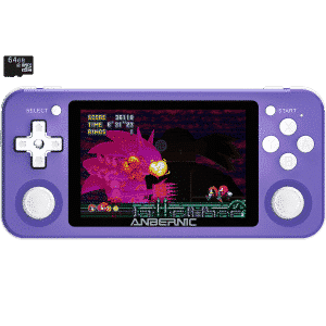 RG351P Purple with 64GB MicroSD Card Retro Gaming Emulator - Showing Front