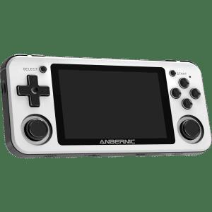 RG351P White Retro Gaming Emulator - Showing Front tilted