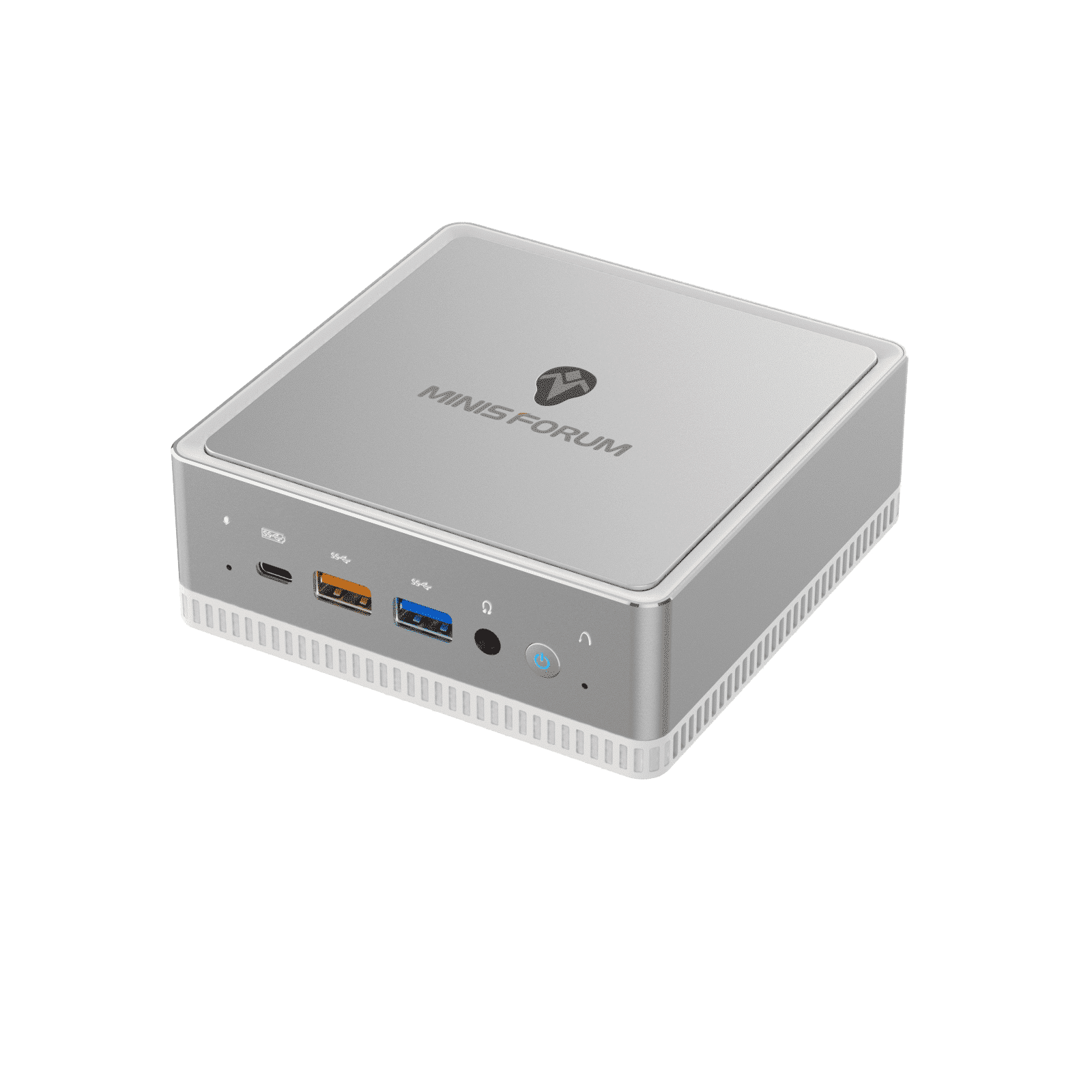 MinisForum DeskMini UM250 Ryzen Mini PC - Shown from the front at angle with 3 USB Ports, 3.5mm Audio Port and Power button