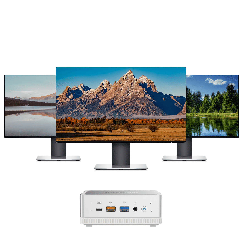 MinisForum UM250 - Shown connected to three monitors