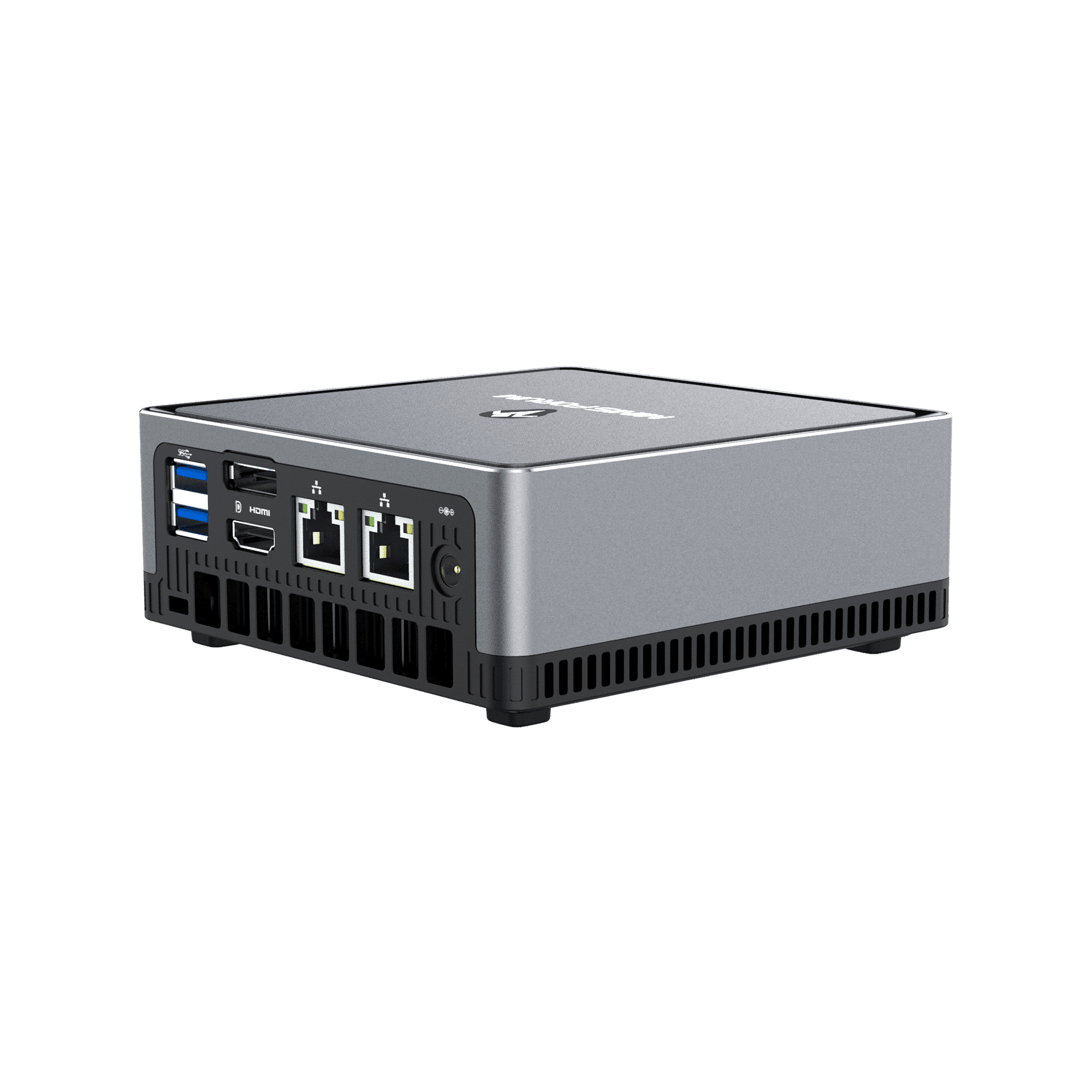 MinisForum EliteMini UM700 - Showing from the back at angle with I/O which is 2x USB Type-A 3.0, 1x HDMI, 1x DisplayPort, 2x RJ45 Ethernet Ports and Power Port