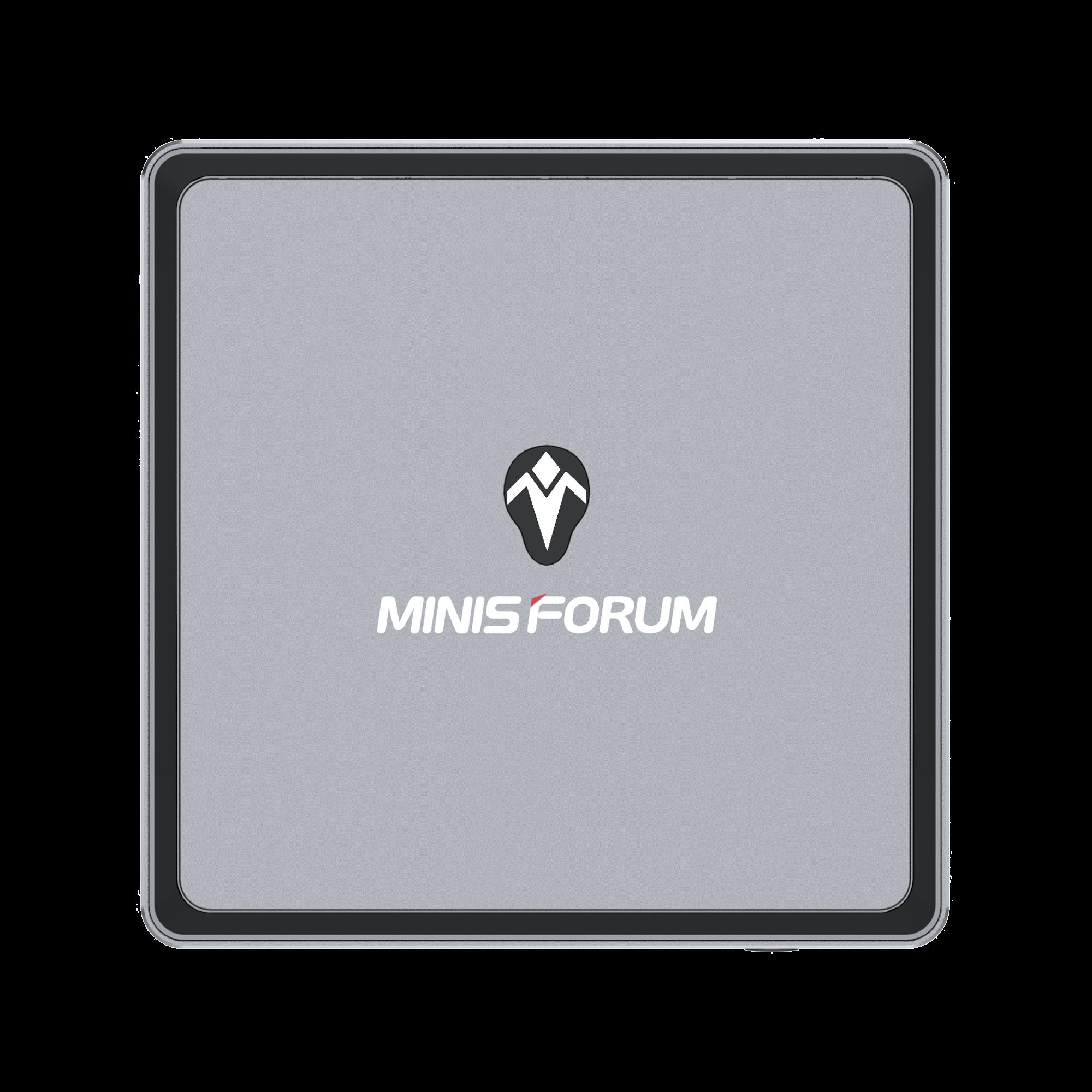 MinisForum EliteMini UM700 - Showing from the top with MINIS FORUM Logo