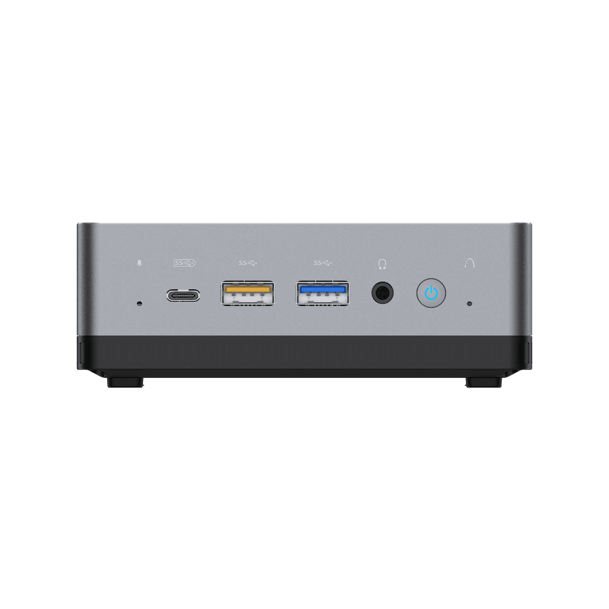 MinisForum EliteMini UM700 - Shown from the front with 1x USB Type-C Port, and 2x USB Type-A Ports, along with a 3.5mm headphone&microphone combo jack and power button