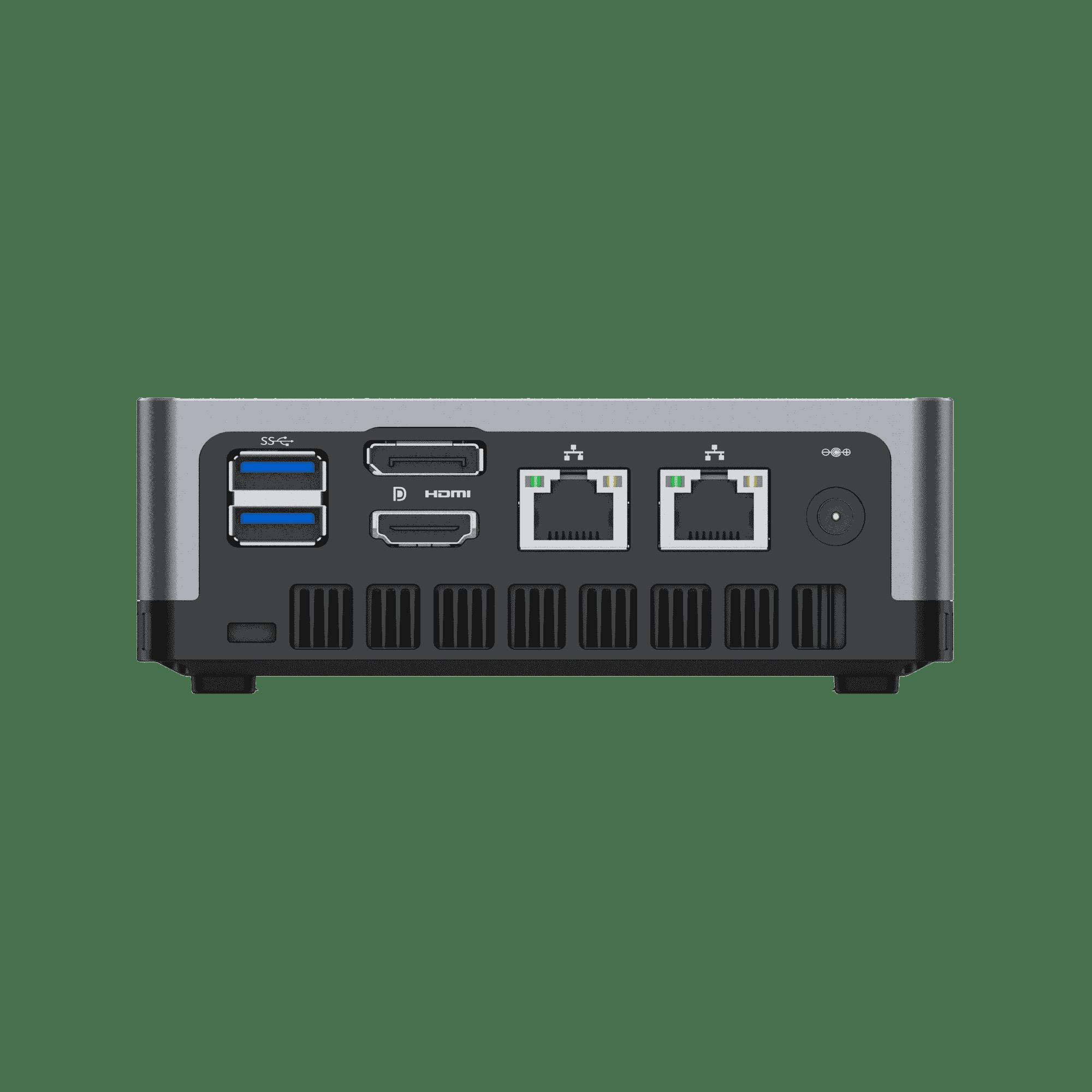 MinisForum EliteMini UM700 - Showing Rear I/O which is 2x USB Type-A 3.0, 1x HDMI, 1x DisplayPort, 2x RJ45 Ethernet Ports and Power Port