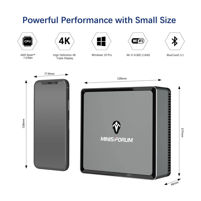 MinisForum EliteMini UM700 Showing dimensions next to an iPhone