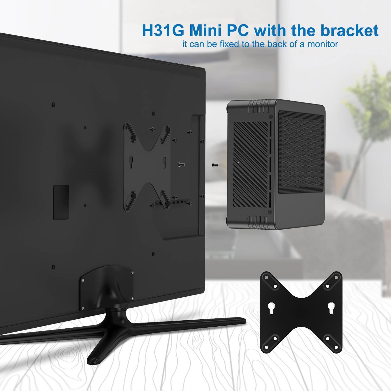 MinisForum EliteMini H31G Mini PC w/ NVidia 1050Ti showing VESA Mount