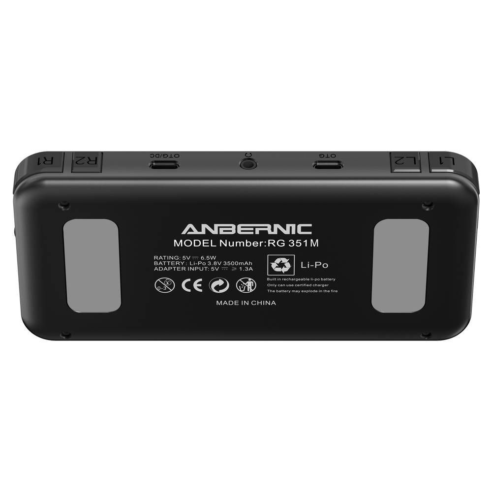 ANBERNIC RG351M Matte Black - Shown from the back at angle
