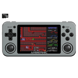 RG351M Space Grey Retro Gaming Handhelds - Showing from the front with retro game playing