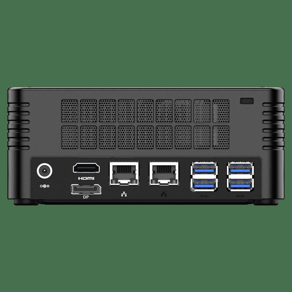 MinisForum EliteMini X400 Ryzen 3 PRO Mini Computer - Showing Rear I/O, including: 4x USB 3.0 Type-A, 2x RJ45 Ethernet Ports, HDMI Port, DP Port and Power Port