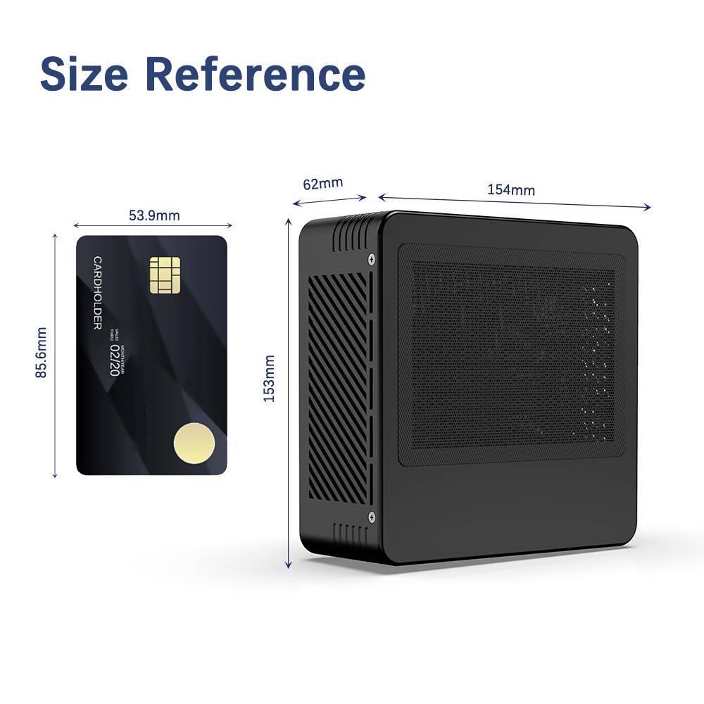 MinisForum X400 AMD Ryzen Mini PC showing size compared to Credit Card