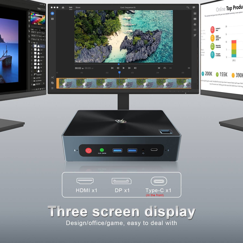 Beelink GTi 10 Windows Intel NUC Mini PC - Showing Three Display Output