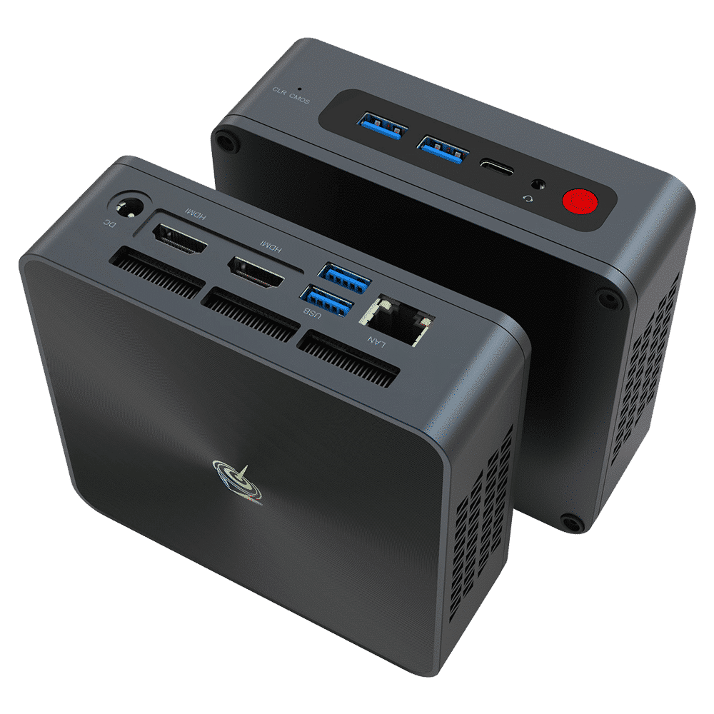 Beelink SEi 10 i3 Mini PC showing from front at angle with 2x USB Type-A 3.0 and 1x USB Type-C Port along with 3.5mm Headphone Jack and from the back with RJ45 Port, 2x USB Type-A 3.0, dual HDMI Ports and Power Port