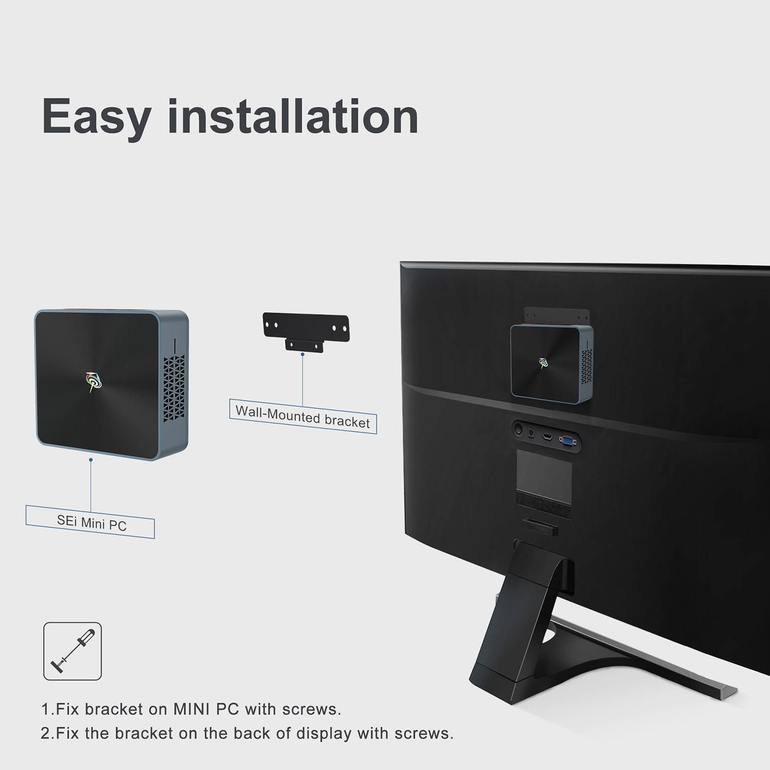 Beelink SEi 10 i3 Mini PC showing back of tv support