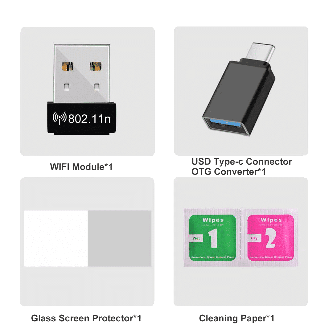 RG351P Advance Pack - Showing Wi-Fi Dongle and USB Converter along with Screen Protector