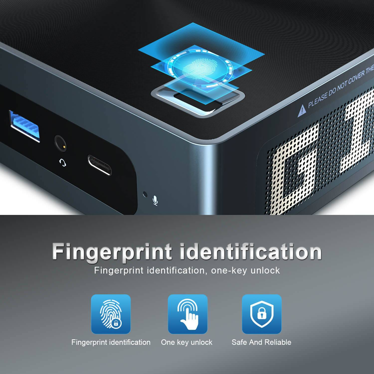 Beelink GTi 8 i5 8259U showcasing the Fingerprint Sensor