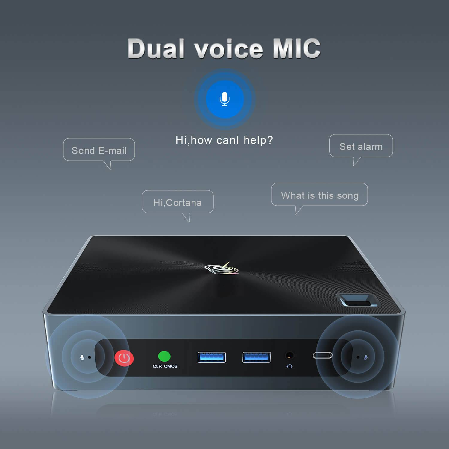 Beelink GTi 8 i5 8259U showcasing the Dual-voice Microphone