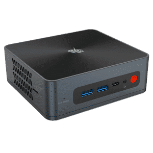 Beelink SEi 8 Windows 10 Intel Mini NUC PC - Showing from front with 2x USB Type-A 3.0, 1 Type-C, 1x 3.5mm Headphone&Microphone Jack