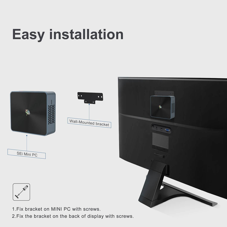Beelink SEi 8 Windows 10 Mini PC - Showing TV Mount