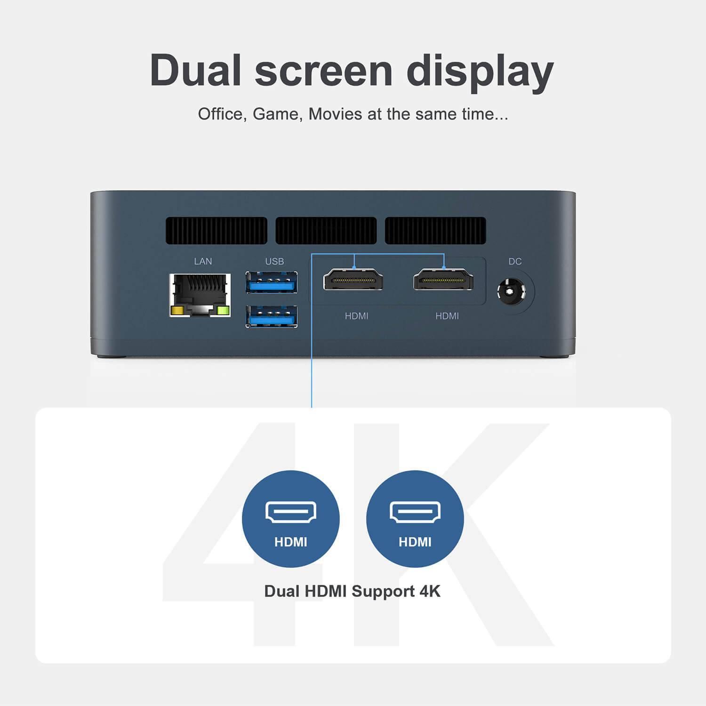 Beelink SEi 8 Windows 10 Mini PC - Showing Dual-Display output