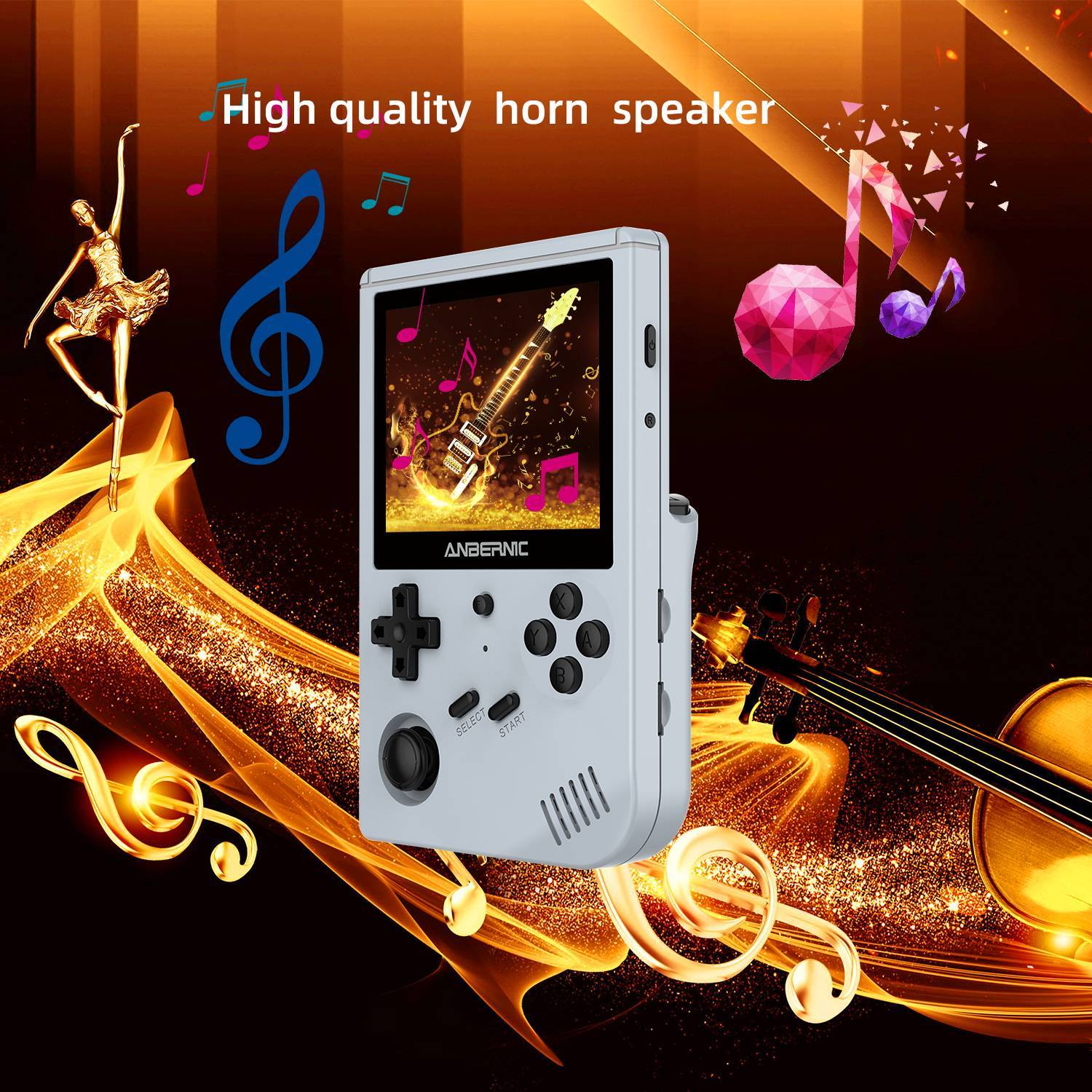 ANBERNIC Grey RG351V Retro Gaming Handheld - Showing High-Quality Speakers