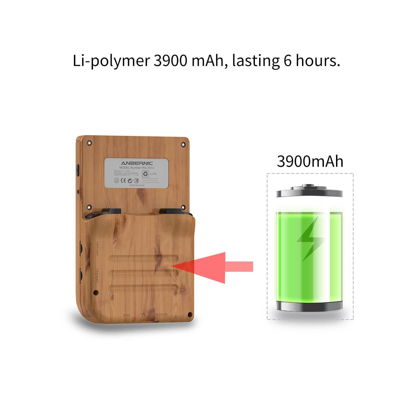 ANBERNIC Wood RG351V Retro Gaming Handheld - Showing 3900mAh Battery