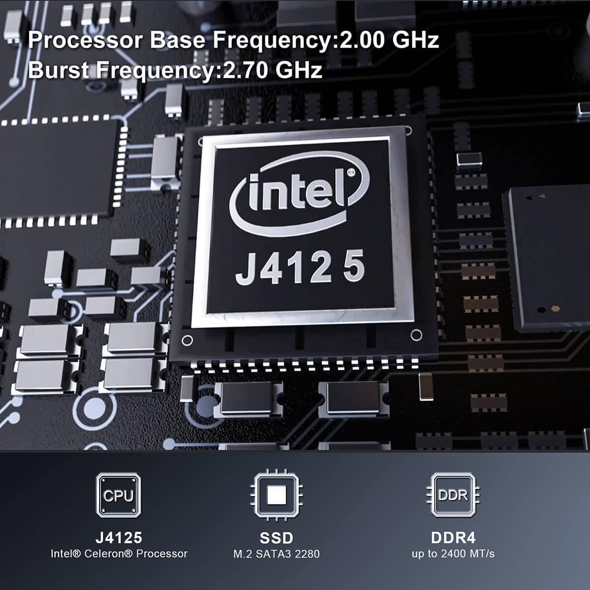 Beelink GK Mini Intel NUC Windows PC showing Intel Celeron J4125 Processor