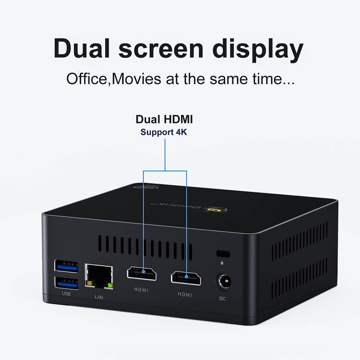 Beelink GK Mini Intel NUC Windows PC showing dual-screen feature
