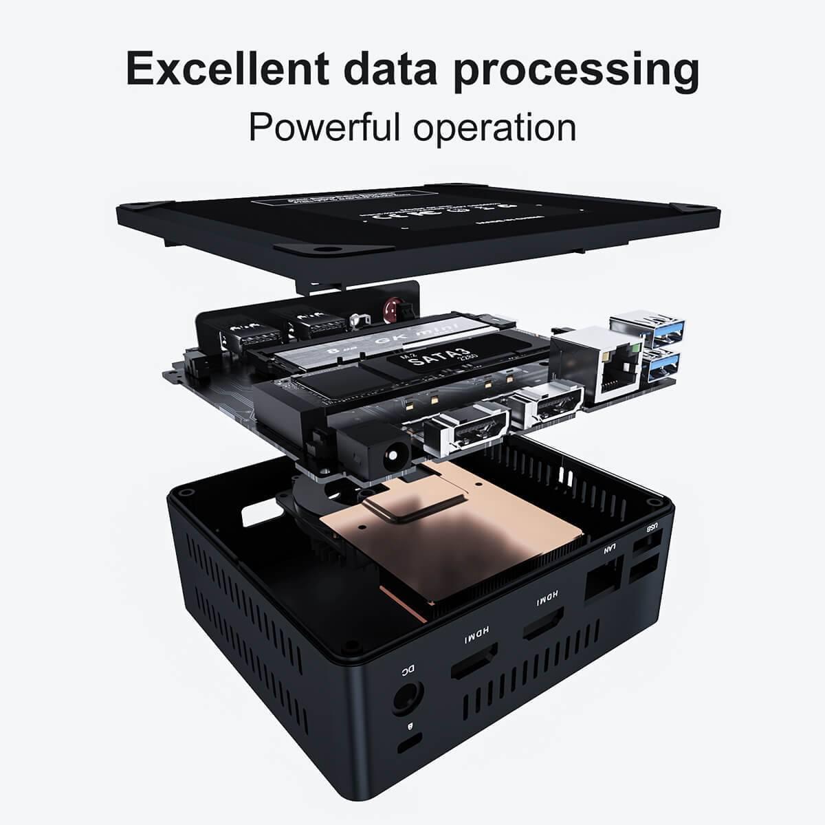 Beelink GK Mini Intel NUC Windows PC showing internal hardware