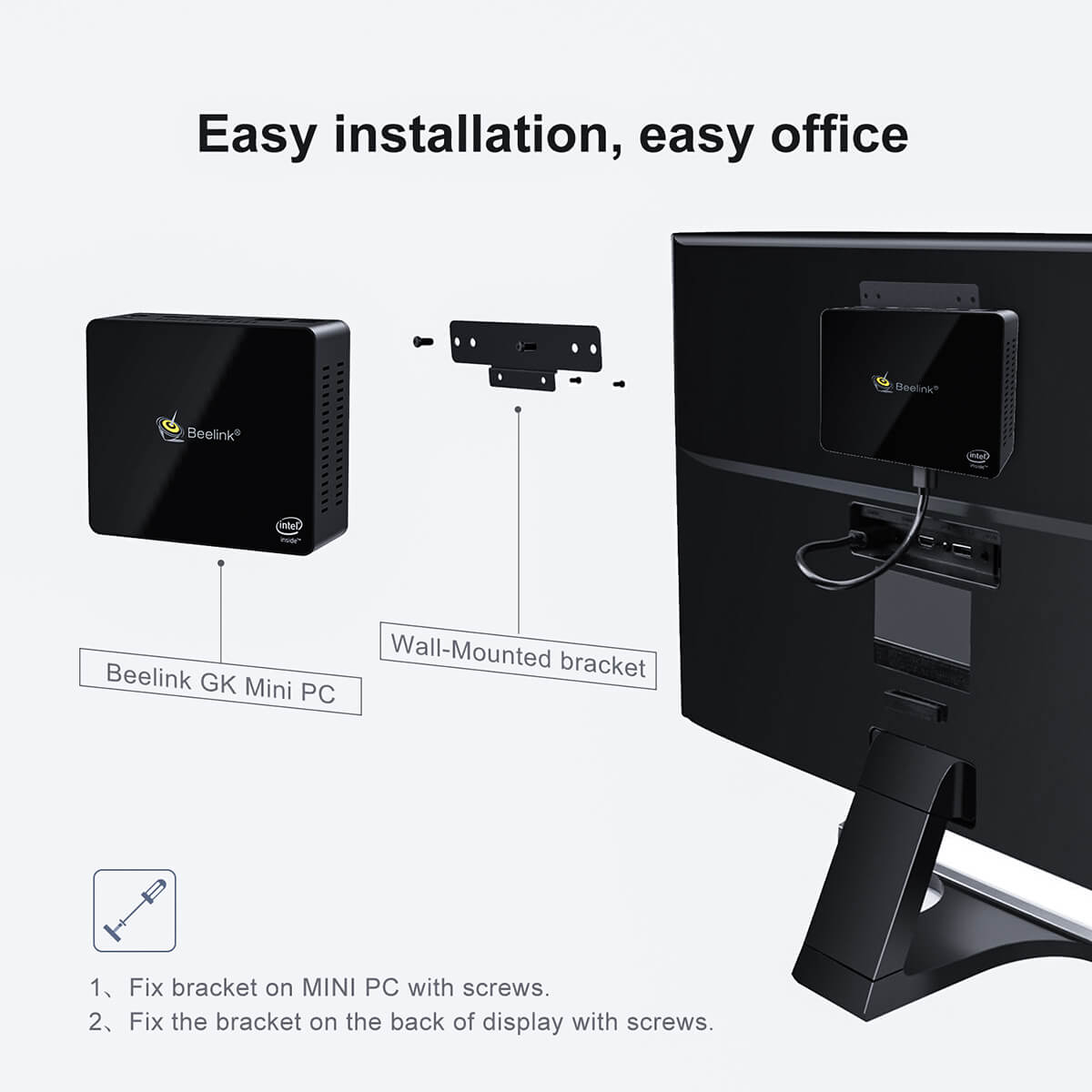 Beelink GK Mini Intel NUC Windows PC showing VESA Mount installation