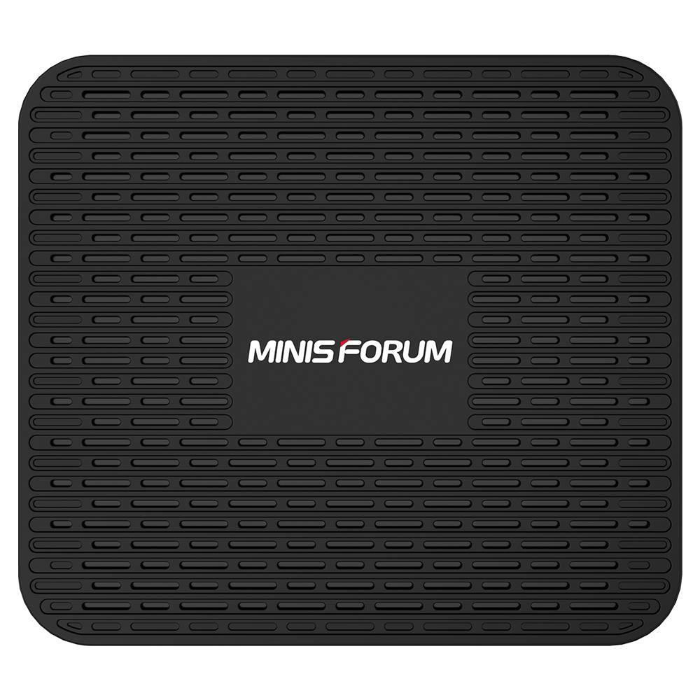 MINISFORUM GK50 Windows Mini PC - Showing from the top with MINISFORUM Logo