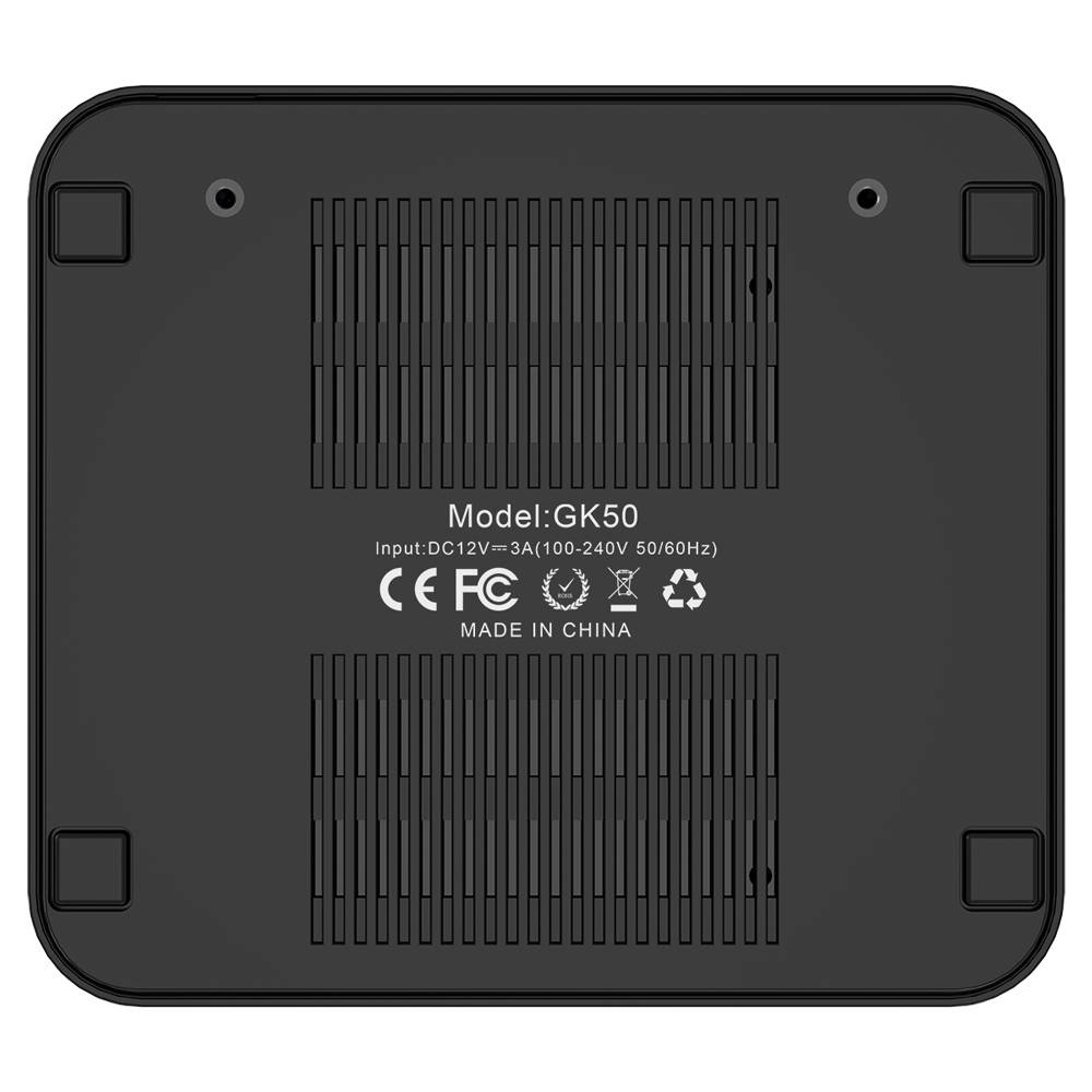 MINISFORUM GK50 Windows Mini PC - Showing from the bottom with Air Vents and Text