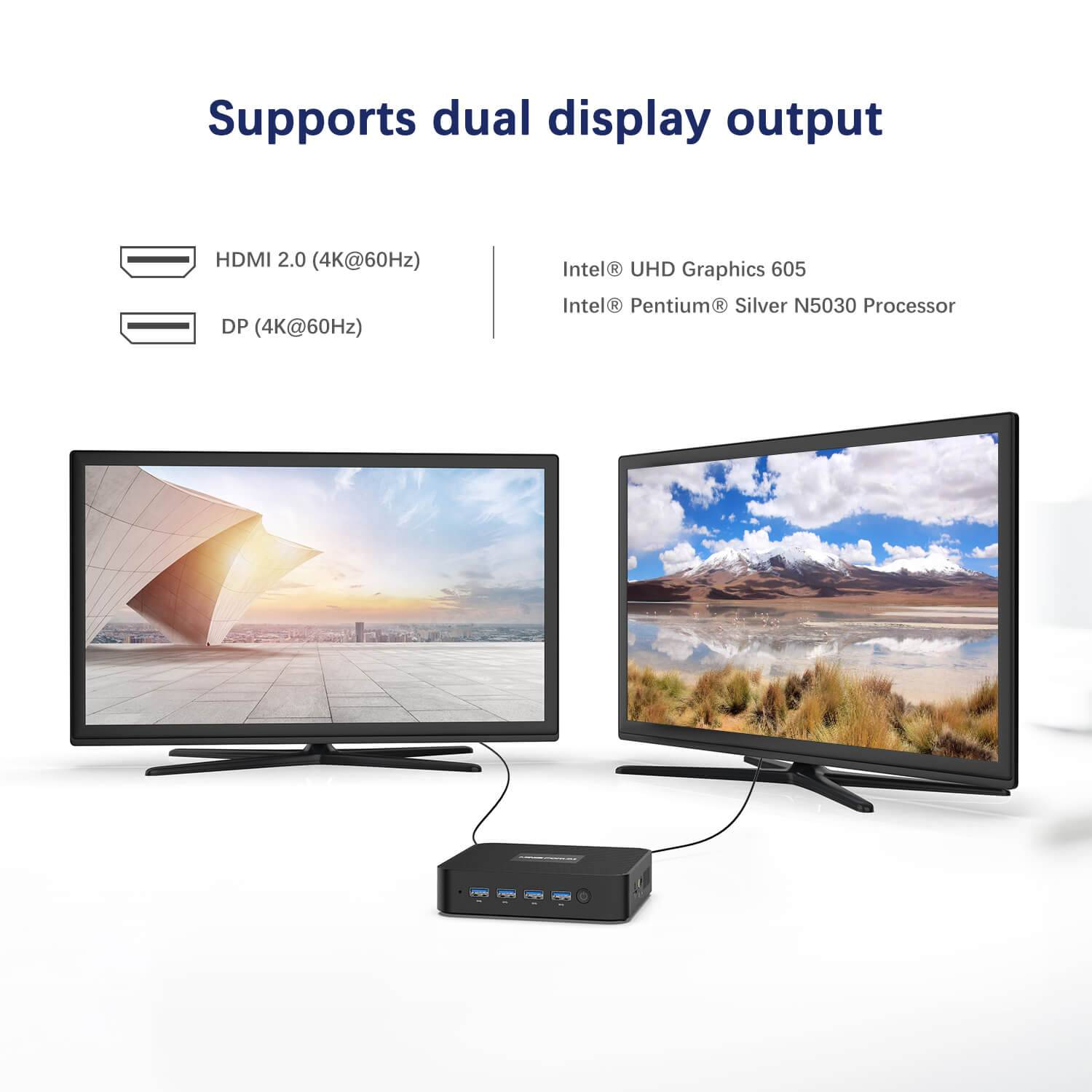 MinisForum GK50 Windows Mini PC for Home or Office - Showing dual display output