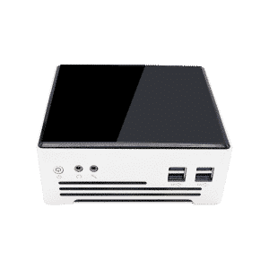 DroiX PROTEUS G4 Intel NUC Mini PC shown from the front with power button, audio output and USB 3.0 Ports