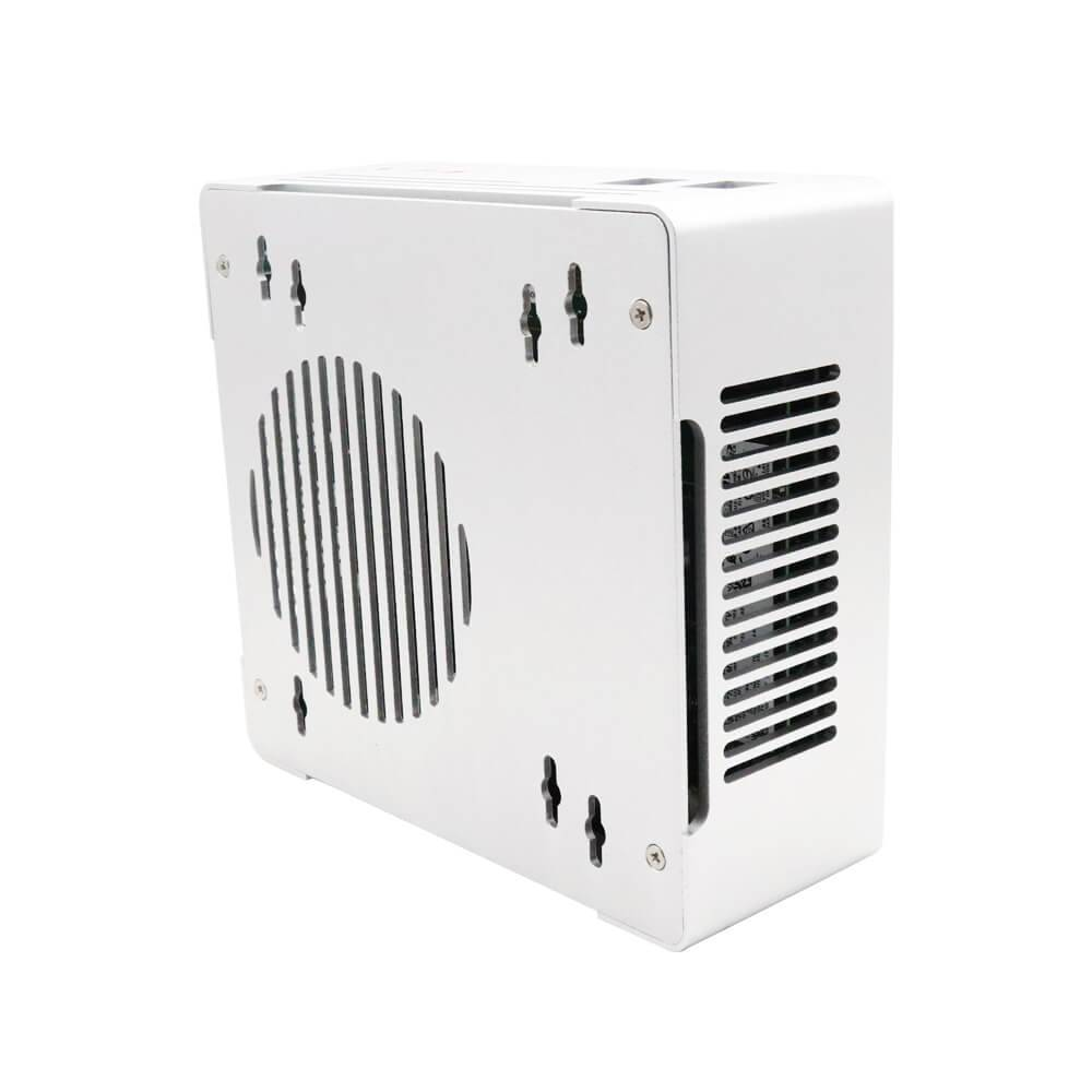 DroiX PROTEUS G4 Intel NUC Mini PC shown from the front and bottom with both intake and exhaust visible
